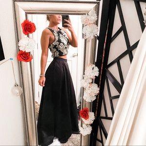 Fancy Damask dress crop skirt top set